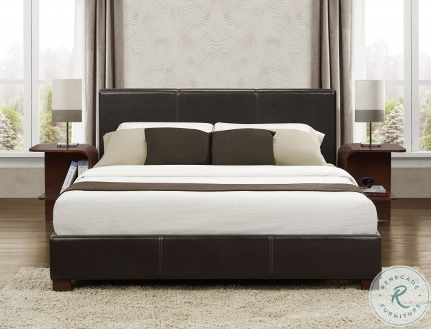 Zoey Dark Brown Queen Upholstered Platform Bed