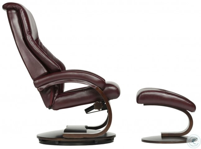 Sensational Oslo Merlot Burgundy Top Grain Leather Swivel Recliner With Ottoman Ibusinesslaw Wood Chair Design Ideas Ibusinesslaworg
