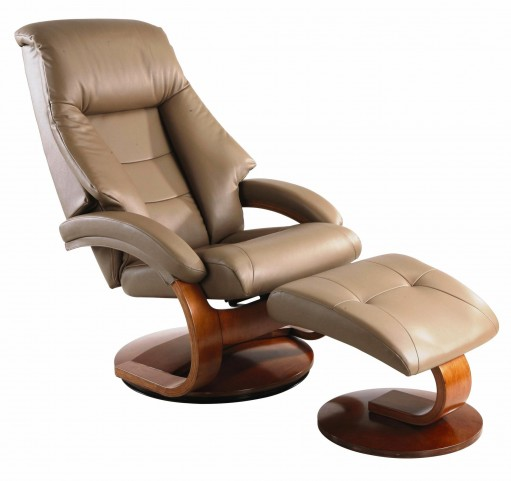 Oslo Sand Tan Top Grain Leather Swivel Recliner