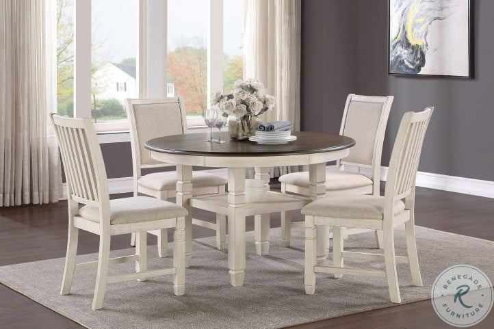 Asher Brown And White Dining Room Set