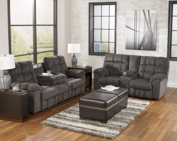 Acieona Slate Reclining Living Room Set with Drop Down Table