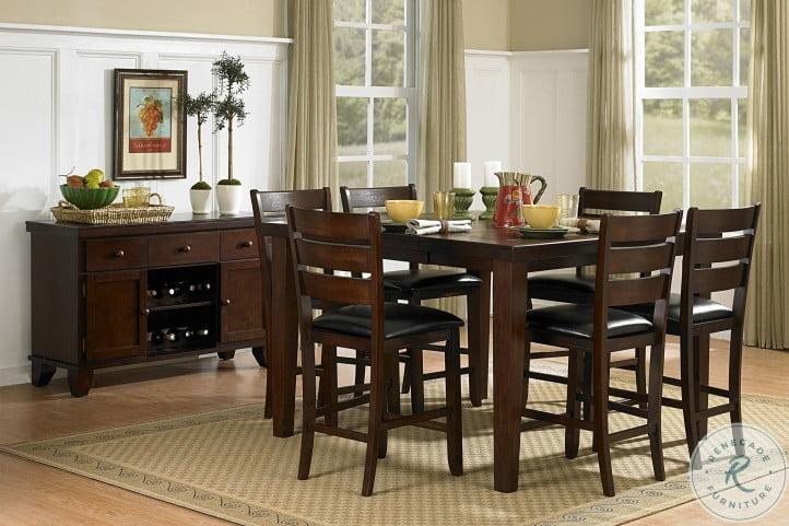 Ameillia Dark Oak Extendable Counter Height Dining Room Set