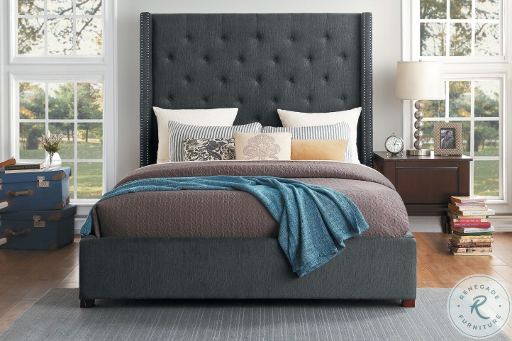 Fairborn Dark Gray King Upholstered Platform Storage Bed