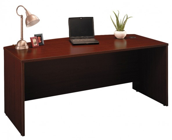 Series C Mahogany 72 Inch Bow Front Desk Shell