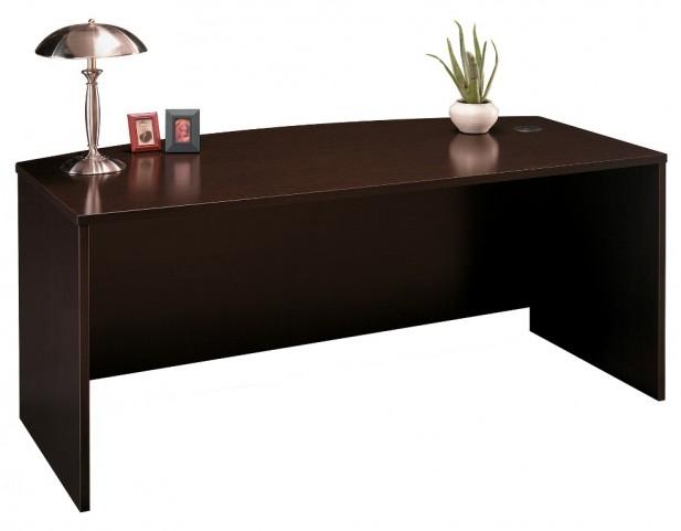 Series C Mocha Cherry 72 Inch Bow Front Desk Shell