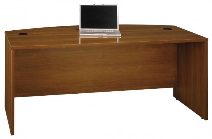 Series C Warm Oak 72 Inch Bow Front Desk Shell