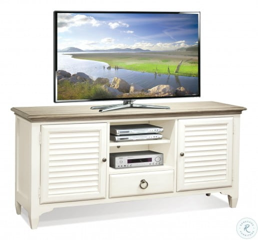 """Myra Natural And Paperwhite 64"""" Louver TV Console"""