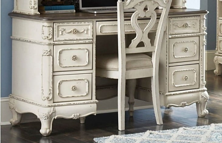 Cinderella Antique White With Grey Rub Through Writing Desk From Homelegance Coleman Furniture