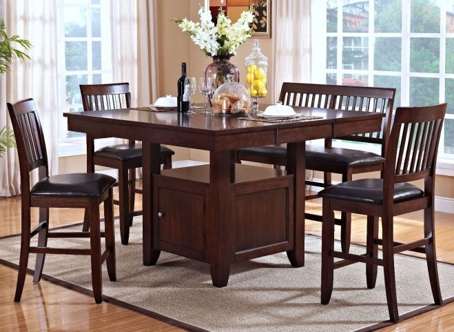 Kaylee Tudor Counter Height Storage Extendable Dining Room Set