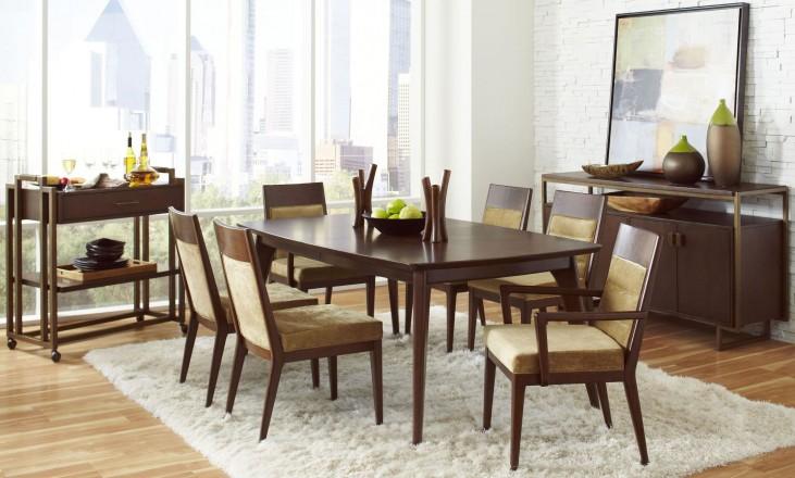 Modern Harmony Burnished Walnut Rectangular Leg Dining Room Set