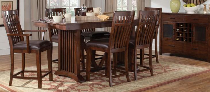 Artisan Loft Warm Medium Oak Rectangular Extendable Counter Height Dining Room Set