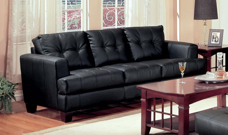 Samuel Black Leather Sofa - 501681