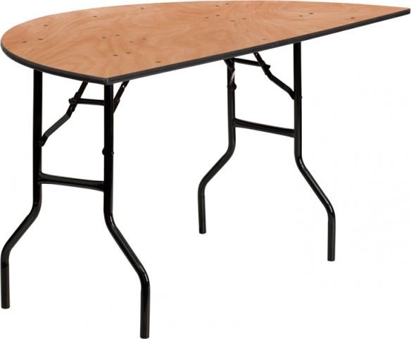 "60"" Half-Round Wood Folding Banquet Table"