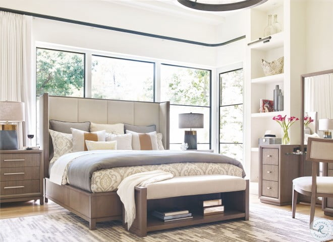 High Line Greige King Upholstered Shelter Bed by Rachael Ray