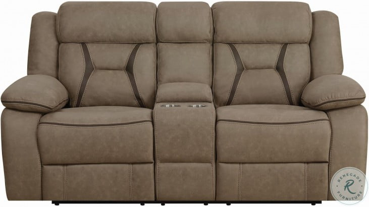 Higgins Tan Reclining Console Loveseat
