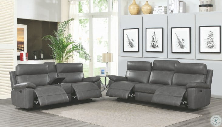 Albany Gray Power Reclining Loveseat With Power Headrest