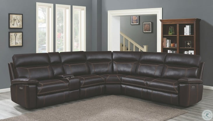 Albany Brown Power Reclining Sectional
