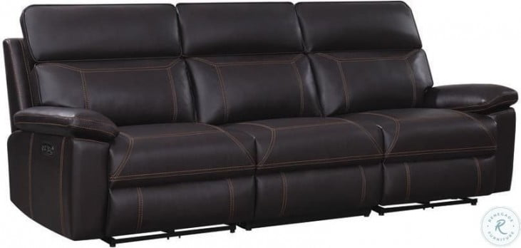 Albany Brown Power Reclining Sofa With Power Headrest