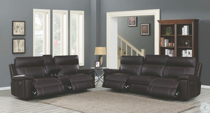 Albany Brown Power Reclining Power Headrest Living Room Set