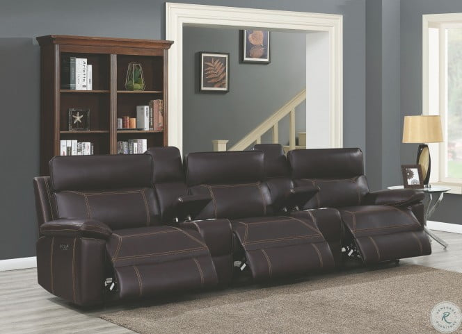 Albany Brown Power Reclining With Power Headrest 3 Seater Home Theater