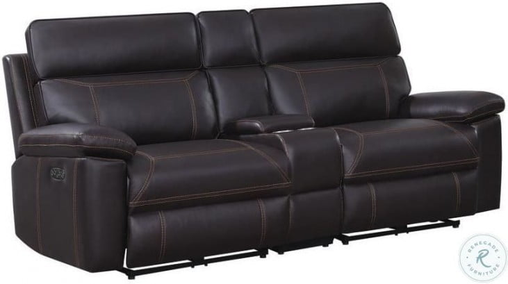 Albany Brown Power Reclining Loveseat With Power Headrest