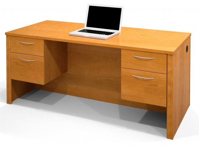 Embassy Executive Desk With Dual Half Peds In Cappuccino Cherry