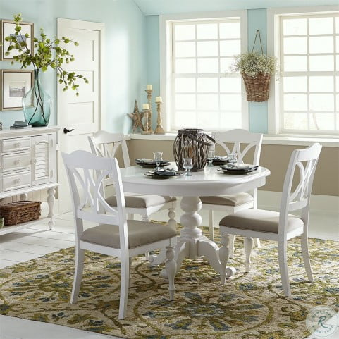 Summer House Oyster White Round Pedestal Extendable Dining Table