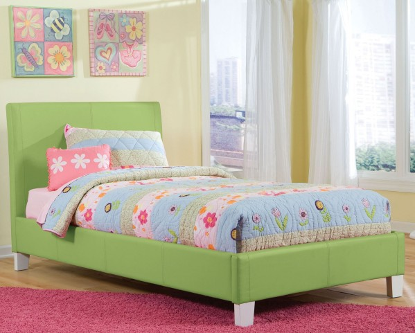 Fantasia Green Twin Upholstered Bed