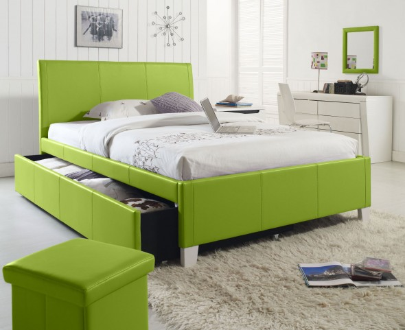 Fantasia Green Twin Upholstered Trundle Bed