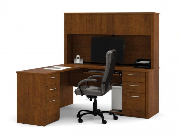 Embassy Tuscany Brown L Shaped Workstation Kit