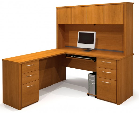 Embassy Cappuccino Cherry L Shaped Workstation Kit
