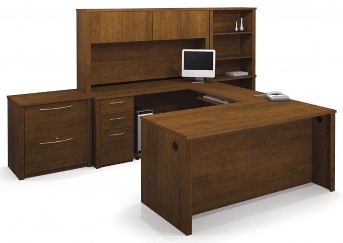 Embassy Tuscany Brown U-Shaped Workstation With Accessories