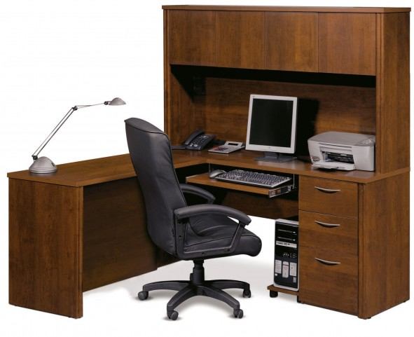 Embassy Tuscany Brown L Shaped Two Drawer Workstation Kit
