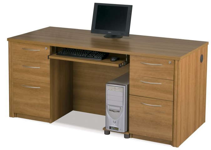 Embassy Cappuccino Cherry Executive Desk with Two Lateral Files
