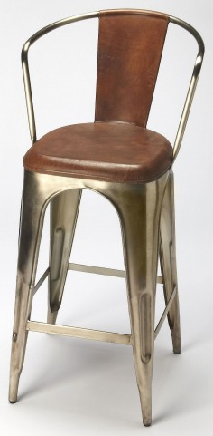Roland Iron & Leather Barstool