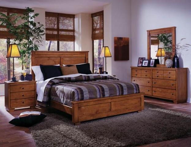 Diego Cinnamon Pine Panel Bedroom Set
