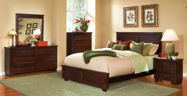 Diego Espresso Pine Panel Bedroom Set