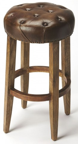 Gallatin Round Leather Bar Stool