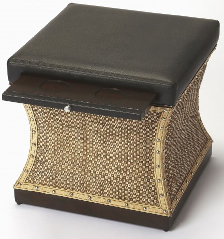 Mathilda Raffia & Leather Bunching Ottoman