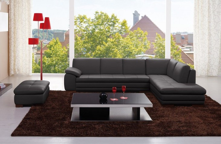 625 Black Italian Leather LAF Sectional