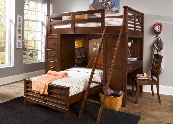 Chelsea Square Youth Loft Bed with Cork Bedroom Set
