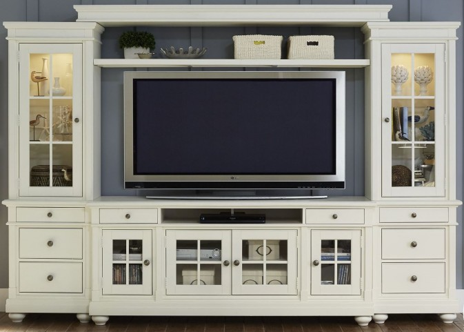 "Harbor View Linen Entertainment Wall with 74"" TV Console"