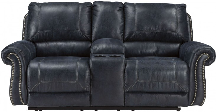 Milhaven Navy Double Reclining Console Loveseat