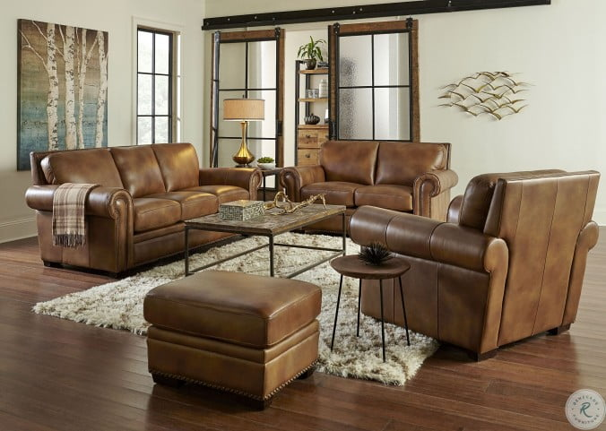 Laguna Tan Leather Living Room Set