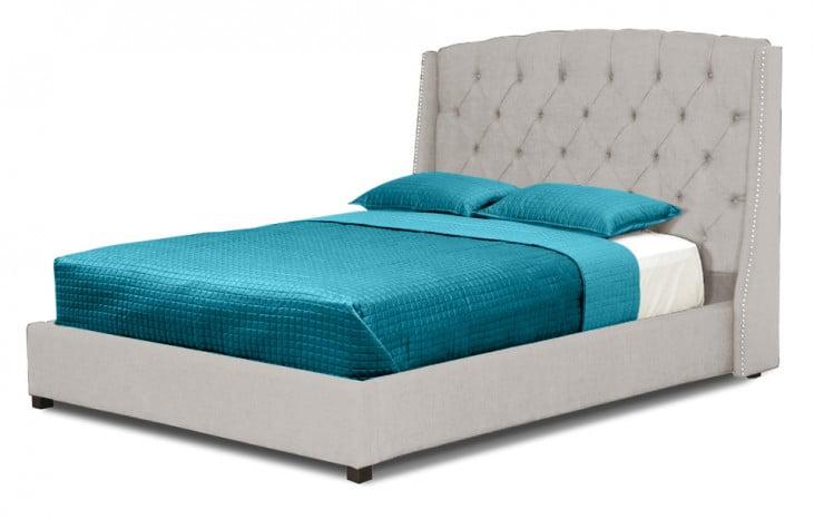 Williamsburg Beige Queen Linen Bed