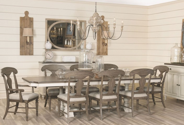 Brookhaven Vintage Linen And Rustic Dark Elm Extendable Trestle Dining Room  Set