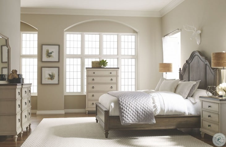 Brookhaven Rustic Dark Elm Panel Bedroom Set