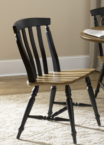 Al Fresco Black Slat Back Side Chair Set of 2