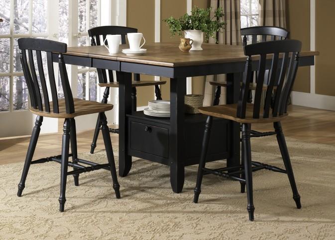 Al Fresco Black Gathering Table Extendable Dining Room Set
