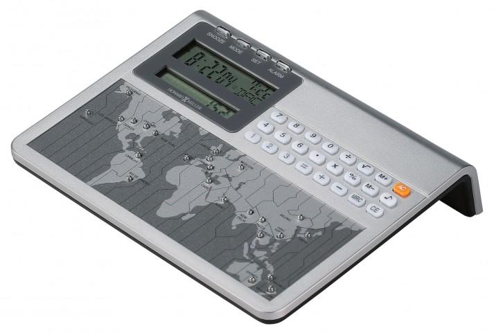 Atlas World Clock & Calculator Table Clock